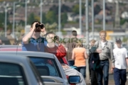 Spectators-watching-from-the-roadside-at-the-Newtownards-Air-Show,-County-Down,-Northern-Ireland.