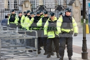 line-psni-police-officers-preparing-for-ongoing-protests-against-Belfast-City-Councils-decision-to-only-fly-the-Union-Flag-on-designated-days.-Belfast-City-Hall,-2nd-February-2013