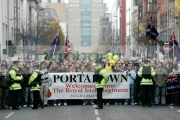 Loyalists-demonstrate-against-the-Sinn-Fein-demonstration-at-the-Royal-Irish-Regiment-RIR-Homecoming-Parade-in-Belfast-on-September-02,-2008-in-Belfast,-Northern-Ireland.-The-parade,-which-passed-relatively-peacefully,-was-for-troops-returning-from-Iraq-Afghanistan.