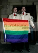 Christopher-Flanaghan-Henry-Kane-after-their-gay-wedding-ceremony-under-the-UKs-new-civil-partnership-laws,-Belfast-City-Hall,-Belfast,-Northern-Ireland