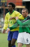 Brazil-4-Rincon-Northern-Ireland-6-Aaron-Callaghan-tussle-before-corner-kick-Northern-Ireland-v-Brazil,-Northern-Ireland-Milk-Cup-Elite-section-semi-final,-Coleraine-Showgrounds,-Northern-Ireland