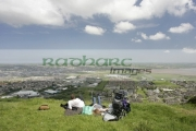 young-family-overlooking-Newtownards-from-Scrabo-hill-,-County-Down,-Northern-Ireland.