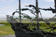 National-Famine-Memorial-the-skeleton-ship-by-John-Behan-,-Murrisk-near-Croagh-Patrick-Westport-Clew-Bay,-County-Mayo,-Republic-Ireland.