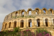 the-old-roman-colloseum-against-blue-cloudy-sky-el-jem-tunisia
